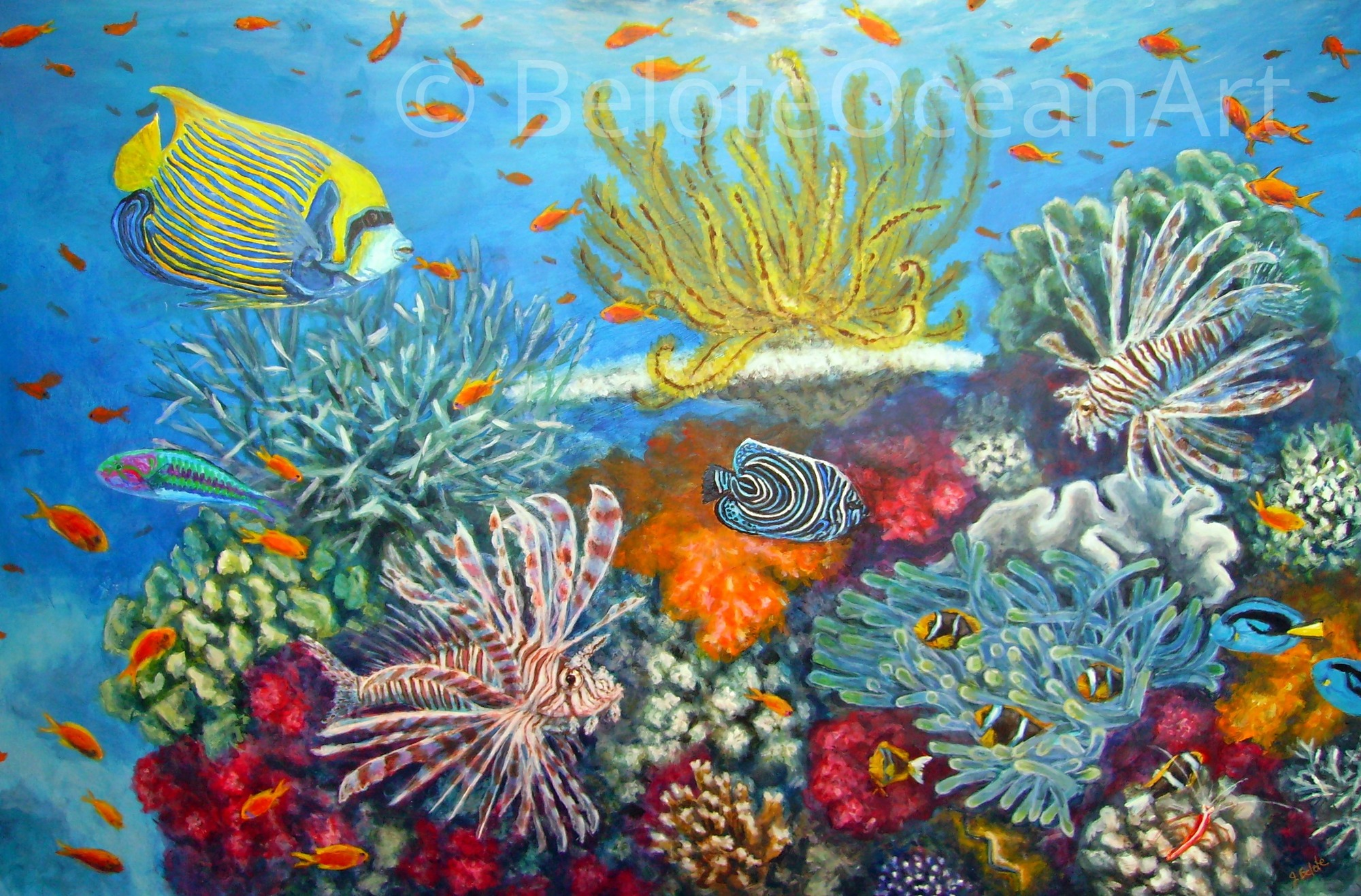 Original Coral reef Painting with 3 Lionfish - Sea life ...